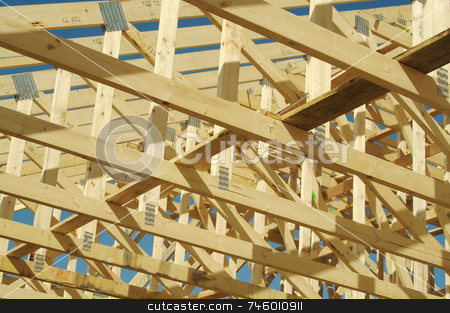 Construction Home Framing Abstract stock photo, New residential construction home framing site. by Andy Dean