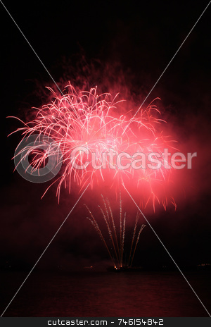 Red fancy fireworks stock photo, Bright red fancy fireworks against the dark sky by Jonas Marcos San Luis