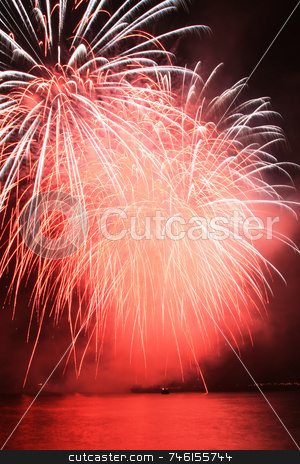 Red pompom fireworks stock photo, Bright red pompom fireworks against the sky by Jonas Marcos San Luis