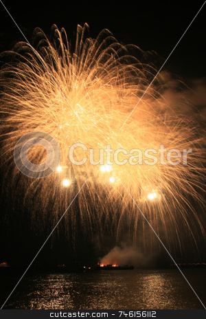 Yellow fury fireworks stock photo, Bright yellow fury fireworks against the dark sky by Jonas Marcos San Luis