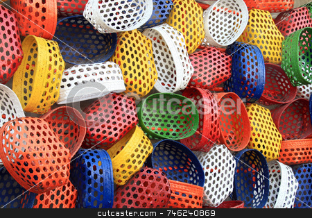 Colorful baskets stock photo, Colorful fish baskets as a background by Jonas Marcos San Luis