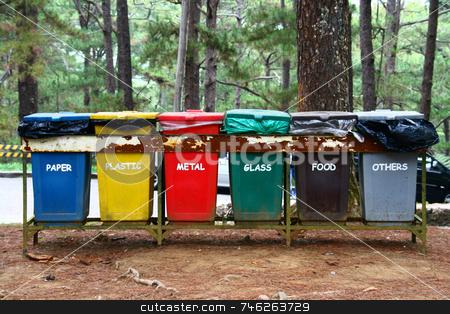 Trash bins stock photo, Color coded trash bins for waste segregation by Jonas Marcos San Luis