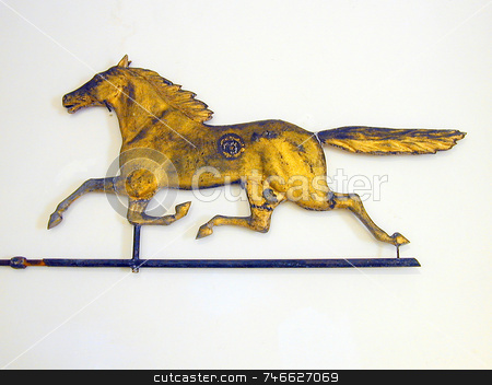 Gilded Horse Weathervane stock photo, An antique horse weathervane, gilded by Tom and Beth Pulsipher