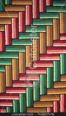 Colorful Hooked Rug - Diagonal stock photo, Colorful hooked rug, showing diagonal pattern in an upwards pattern by Tom and Beth Pulsipher