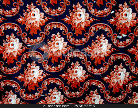 Antique Floral Fabric stock photo, Early floral fabric in rose, c. 19th century, white and black by Tom and Beth Pulsipher