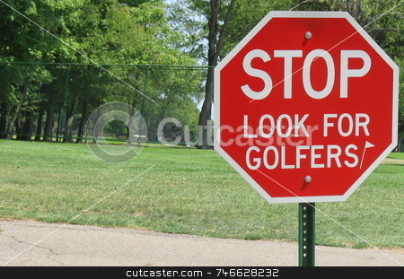 Golf Course Sign stock photo, A stop sign at a golf course -