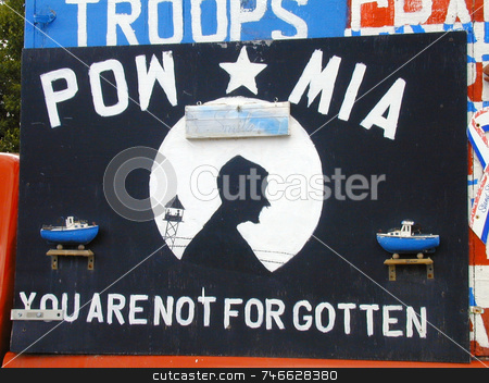 MIA/POW  Sign stock photo, Handpainted MIA (missing in aciton) - POW (prisoner of war) sign, handmade and commemorating US Vietnam war veterans by Tom and Beth Pulsipher