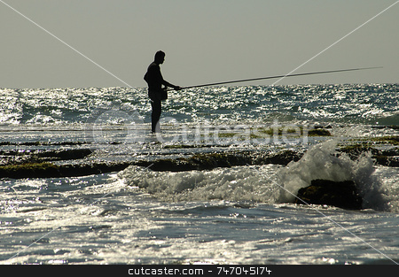Fishermen stock photo, Fishermermen in the tel aviv coast in israel by Kobby Dagan