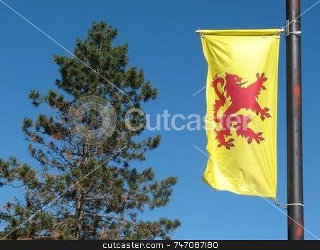 The Lion Ranpant Banner stock photo, The Lion Rampant flag is the Scottish Royal Banner, named after the Lord Lyon King Arms. Dates back to the 14th Century. by Ray Carpenter
