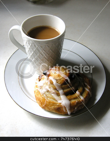 Coffee and Bun stock photo, A single cup of coffee and a cinnamon bun on a white plate by Maria Bell