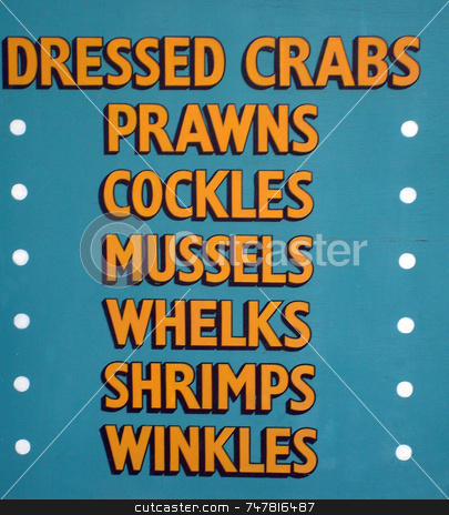 Shellfish seafood stall sign stock photo, Shell food sign advertising shellfood. by Martin Crowdy