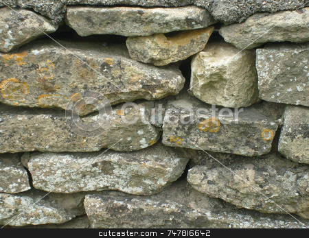English dry stone walling stock photo, English dry stone walling in rural countryside. by Martin Crowdy