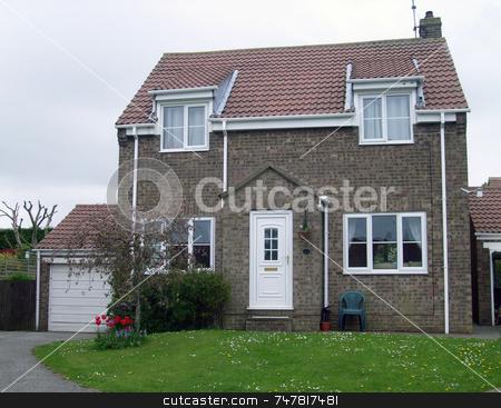 English modern suburban home stock photo, Modern suburban house in England by Martin Crowdy