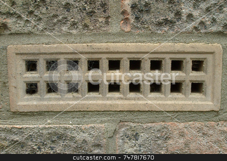 Air brick in wall stock photo, Air brick in wall of house. by Martin Crowdy