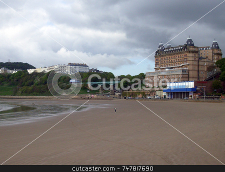 Scarborough Beach  stock photo, Scarborough South Bay beach, North Yorkshire, England. by Martin Crowdy