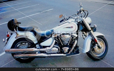 A Fine Machine stock photo, A motorcycle parked on a downtown street. by Michael Ge . . . .