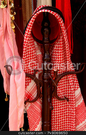 Keffiyah stock photo, Keffiyah the traditional headdress of arab people by Kobby Dagan