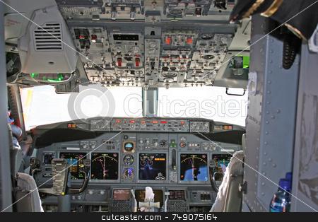Cockpit 2 stock photo, Cockpit in modern airliner by Darryl Brooks