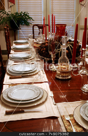 Formal Table stock photo, Formal dining table in home set for holiday dinner by Darryl Brooks