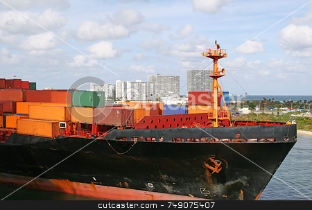 Freight in Harbor stock photo, Freight on a ship entering a harbor by Darryl Brooks