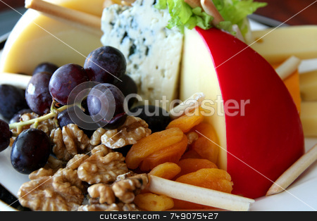 Fruit, Nuts, and Cheese stock photo, A fruit, nut, and cheese tray in a buffet by Darryl Brooks