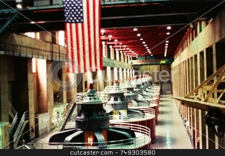 American power plant stock photo, An American flag hanging over power generators inside of Hoover dam. by Rob Wright