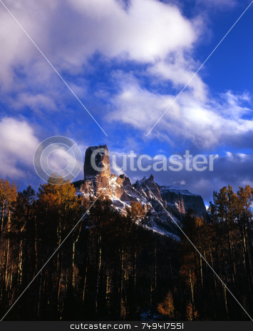 Chimney Peak Five stock photo, Chimney Peak and Courthouse Mountain in the Uncompahgre National Forest, Colorado. by Mike Norton