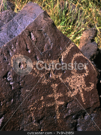 Petroglyph one stock photo, An Indian Petroglyph in Rinconada Canyon located in Albuquerque, New Mexico. by Mike Norton