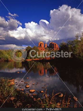 Cathedral Rock 15 stock photo, Cathedral Rock and Oak Creek near Sedona, Arizona. by Mike Norton