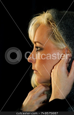 Woman side profile stock photo, Portrait of a beautiful young woman with blond hair by Henrik Lehnerer