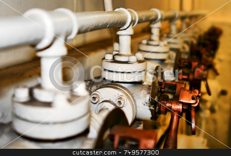 Old Controls 7414 stock photo, Old dirty Controls in a line on an old ship by Henrik Lehnerer