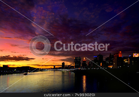 Brisbane River Sunset stock photo, A wild sunset over Brisbane in 2007 by Robin Ducker