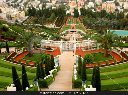 Bahai Gardens stock photo, The bahai gardens in the city of haifa by Kobby Dagan