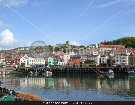 Traditional English seaside resort stock photo, Traditional English seaside resort showing quaint harbour, Scarborough, U.K. by Martin Crowdy
