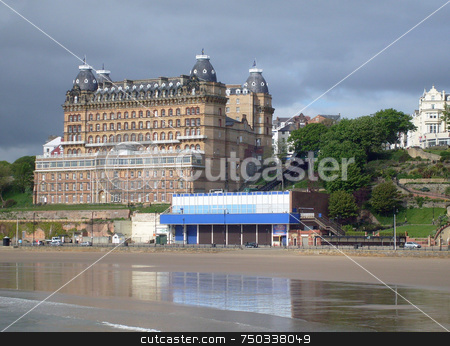 Beautiful beach scene stock photo, Beautiful beach scene in south bay, Scarborough, U.K. by Martin Crowdy