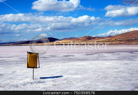 Salt lake stock photo, Bin in dry salt lake in Turkey. by Kobby Dagan