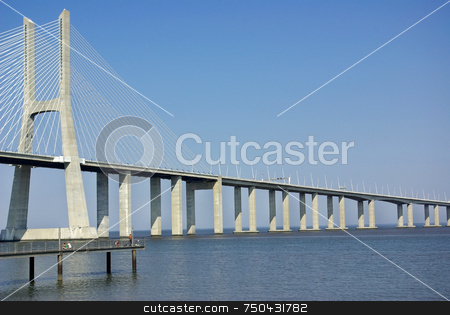 Vasco da gama bridge in Portugal. stock photo, A view over the