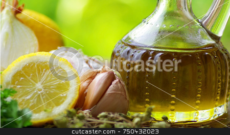 Oil Olive  and condiments. stock photo, Oil Olive with vegetables and condiments. by Inacio Pires