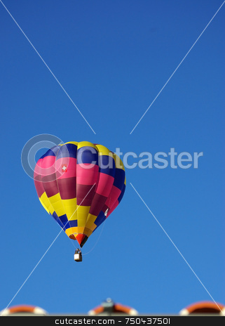 Hot air balloon . stock photo, Hot air balloon in the blue sky. by Inacio Pires