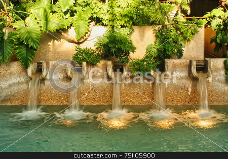 Modern Fountain stock photo, A lush modern fountain mixed with plants by Kevin Tietz