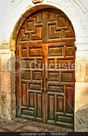 Wooden Door stock photo, An old worn wooden door showing the grain of the wood by Kevin Tietz