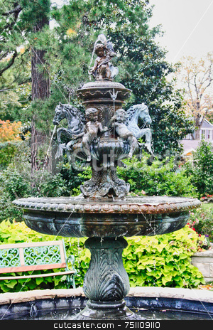 Classic Fountain stock photo, A classic fountain captured in an old park by Kevin Tietz