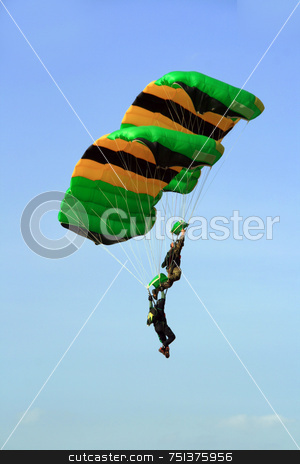 Sky divers 1 stock photo, Two skydivers in cascade formation before final landing by Jonas Marcos San Luis