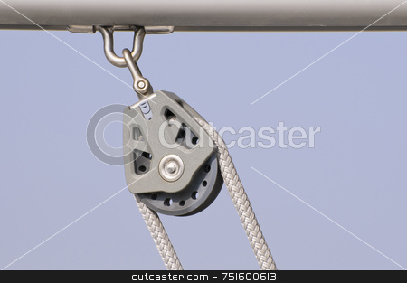 Block stock photo, Block with rope on a sailboat boom by Massimiliano Leban