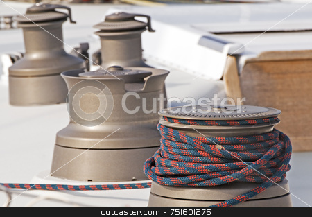 Winches stock photo, Four winches used to control sails on a boat by Massimiliano Leban