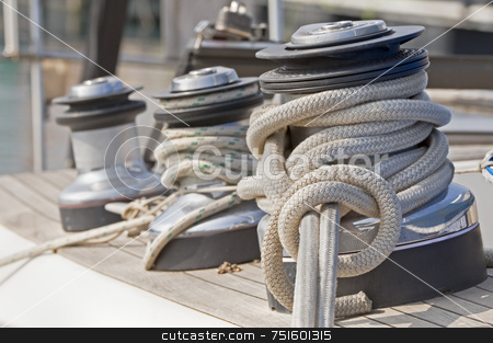 Winches stock photo, Winches to pull on sails on a boat by Massimiliano Leban