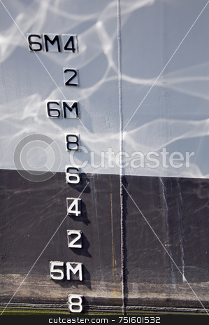 Draft markings stock photo, Numbers indicating draft on a boat by Massimiliano Leban