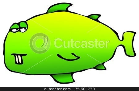 Green Fish stock photo, This illustration depicts a bright green fish. by Dennis Cox