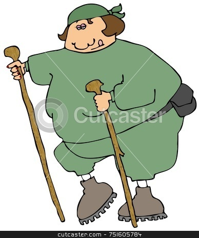 Female Hiker stock photo, This illustration depicts a chubby female hiker with two walking sticks. by Dennis Cox