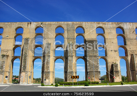 Aqueduct  in old city of Elvas. stock photo, Aqueduct  in old city of Elvas, south of Portugal. by Inacio Pires